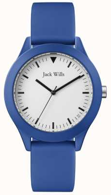 Jack Wills | Herren blau Kautschukband | weißes Zifferblatt | JW009BTBL
