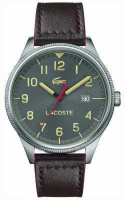 Lacoste | kontinentale Männer | braunes Lederarmband | graues Zifferblatt | 2011020