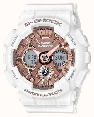 Casio | g-shock weiß und roségold | analog und digital | GMA-S120MF-7A2ER