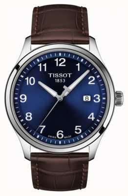 Tissot | Herren xl | blaues Zifferblatt | braunes Lederarmband | T1164101604700