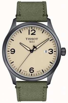 Tissot | Herren xl | graues Khaki-Armband | beige Zifferblatt | T1164103726700