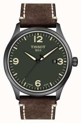 Tissot | Herren xl | grünes Zifferblatt | braun geprägtes Rindlederband | T1164103609700
