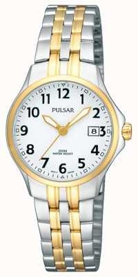Pulsar Damen Armband aus zweifarbigem Edelstahl mit weißem Zifferblatt PH7222X1