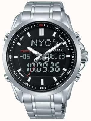 Pulsar Herren Edelstahl Armband Digital Analog Anzeige PZ4021X1