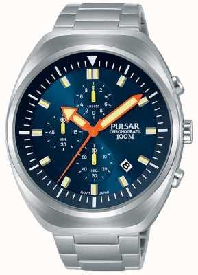 Pulsar Herren Chronograph blaues Zifferblatt Edelstahl Armband PM3085X1