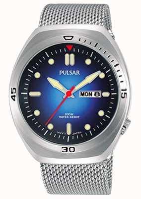 Pulsar Blaues Zifferblatt aus Edelstahl mit extra Lederarmband PJ6097X2