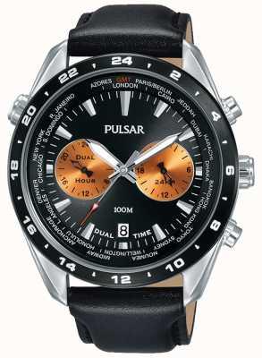 Pulsar Herren Chronograph schwarzes Zifferblatt schwarzes Lederarmband PY7015X1