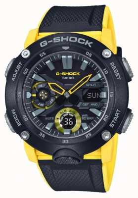Casio | g-shock Kohlenstoffkernschutz | schwarzes gelbes Armband | GA-2000-1A9ER
