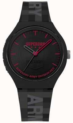 Superdry | mens urban xl | graues Silikonband | schwarzes Zifferblatt | SYG251B