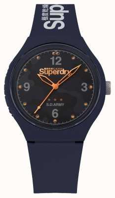 Superdry | mens urban xl | blaues Silikonband | blaues Zifferblatt | SYG254U