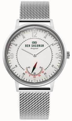 Ben Sherman | Portobello Erbe der Männer | aus weißem Zifferblatt | Edelstahlgewebe WB034SM