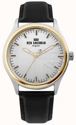 Ben Sherman | Mens Harrison | schwarzes Lederarmband | silbernes Zifferblatt | WB036B