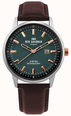 Ben Sherman | herren daltrey professional | braunes Leder | grünes Zifferblatt | WB030NT