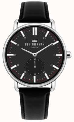 Ben Sherman | Herren Brighton City | schwarzes Lederband | schwarzes Zifferblatt | WB033BB