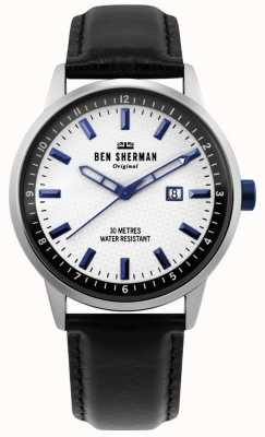 Ben Sherman | Herren Daltrey Professional | schwarzes Leder | weißes Zifferblatt | WB030B