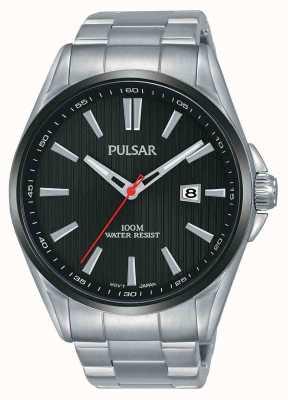 Pulsar | herren edelstahl | schwarzes Zifferblatt | PS9605X1