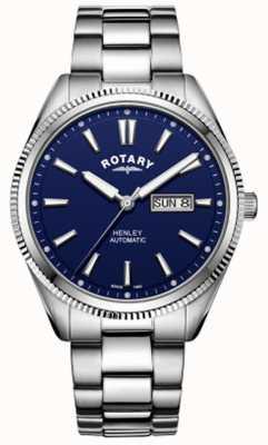 Rotary | Herren Henley | gezahnte Lünette | blaues Zifferblatt | rostfreier Stahl GB05380/05