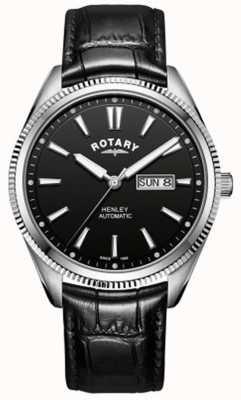 Rotary | Herren Henley | gezackte Lünette | schwarzes Zifferblatt | schwarzes Leder GS05380/04