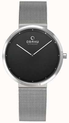 Obaku | damen papir lillie onyx | silbernes mesh armband | schwarz V230LXCBMC