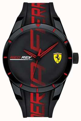Scuderia Ferrari | redrev für männer | schwarzes / rotes Silikonband | schwarzes Zifferblatt | 0830614