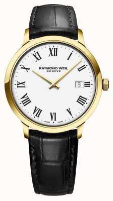 Raymond Weil | herren toccata | klassisches pvd gold gehäuse weißes zifferblatt | 5485-PC-00300
