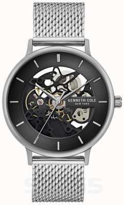 Kenneth Cole | Herren Automatik | Armband aus Stahlgeflecht | schwarzes Zifferblatt | KC50780005
