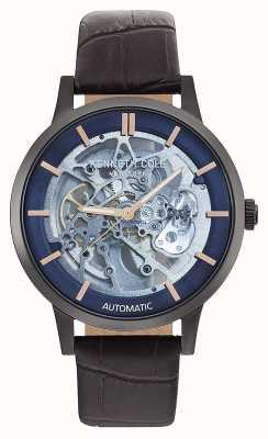 Kenneth Cole | Herren Automatik | braunes Lederband | blaues Zifferblatt | KC50559001