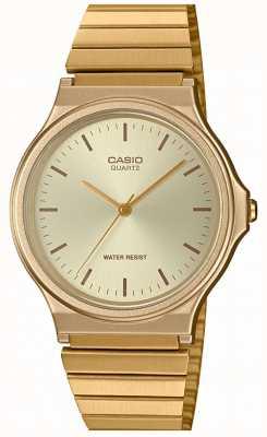 Casio | Vintage runde Uhr | erweiterbares Armband | goldenes Zifferblatt | MQ-24G-9EEF