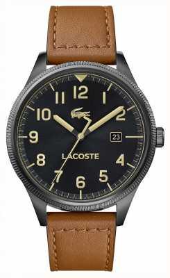 Lacoste | Herren kontinental | braunes Lederband | schwarzes Zifferblatt | 2011021