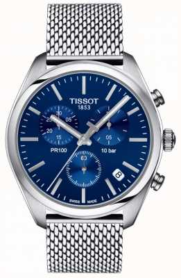 Tissot | Herren Pr100 Chronograph | Netzarmband | blaues Zifferblatt | T1014171104100