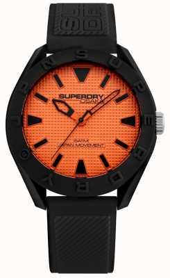 Superdry | Herren Osaka | schwarzes Silikonband | oranges Zifferblatt | SYG243BO