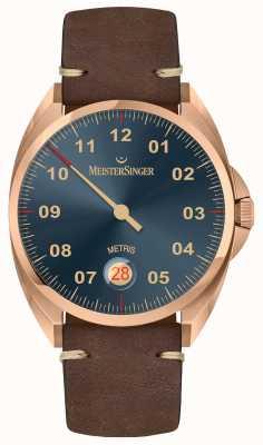 MeisterSinger Bronze-Linie Metris dunkelbraunes Kalbslederarmband ME917BR