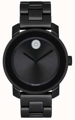 Movado | fett | schwarzes pvd überzogenes armband | schwarzes Zifferblatt | 3600535