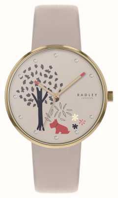 Radley | epping wald | Baum- und Hundemotivzifferblatt | nacktes Leder | RY2786