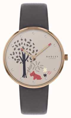 Radley | epping wald | Baum- und Hundemotivzifferblatt | graues Leder | RY2788