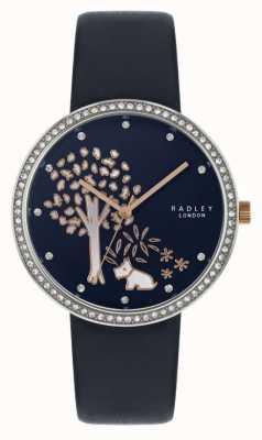 Radley | navy Lederband für Damen | Lünette aus Kristall | Baumwahl RY2783