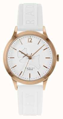 Radley | weißes Silikonband der Frauen | weißes Zifferblatt | Roségold-Gehäuse RY2818