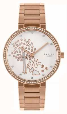Radley | Damen Roségold Stahlband | weißes baummotiv zifferblatt | RY4388