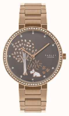 Radley | Damen Roségold Stahlband | weiß / graues Baumzifferblatt | RY4386
