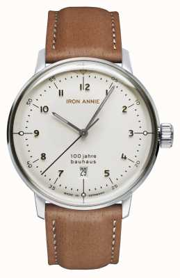 Iron Annie Bauhaus | weißes Zifferblatt | braunes Lederband 5046-1