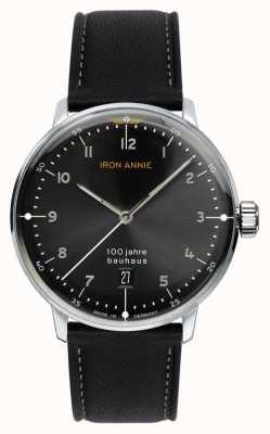 Iron Annie Bauhaus | schwarzes Zifferblatt | schwarzes Lederband 5046-2