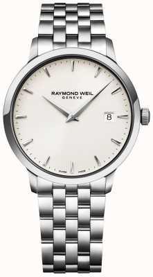 Raymond Weil Cremefarbenes Herren-Armband aus Edelstahl mit Toccata-Uhr 5488-ST-40001