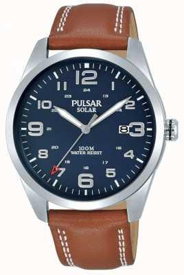 Pulsar | braunes Lederarmband für Herren | blaues Zifferblatt | PX3189X1