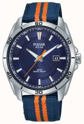 Pulsar | Herren blaues Zifferblatt | blau / orange Stoffband | PX3175X1