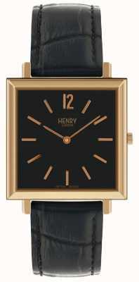 Henry London Heritage Uhr mit quadratischem schwarzem Zifferblatt und schwarzem Lederarmband HL34-QS-0270