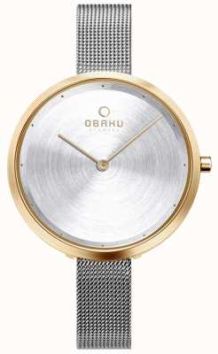 Obaku | dok gold von frauen | Silbergeflecht | Goldgehäuse | silbernes Zifferblatt V227LXGIMC