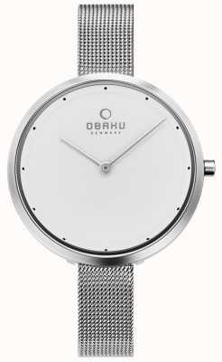 Obaku | dok stahl für damen | silbernes mesh armband | weißes Zifferblatt | V227LXCIMC