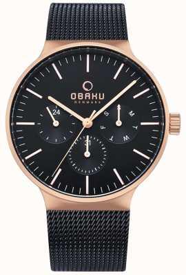Obaku | mens mos night | schwarzes Mesh-Armband | schwarzes Chronographen-Zifferblatt V229GMVBMB