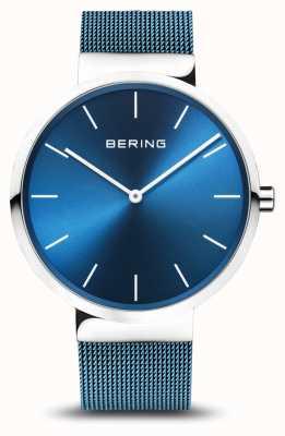 Bering Herren | klassisch | blaues pvd plattiertes stahlgeflecht armband 16540-308