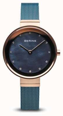 Bering Frauen | klassisch | blaues pvd überzogenes Stahlgeflecht 10128-368